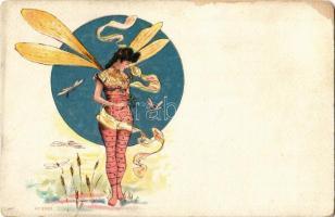 Szitakötő hölgy / Dragonfly lady. Art Nouveau. No. 2982. litho (worn)