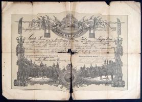 1888 Nagykanizsa, végelbocsátó levél tizedes részére, sérült