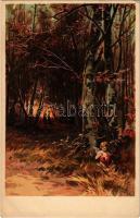 Love art postcard with Cupido. Rafael Neuber S. 57. litho s: E. Döcker