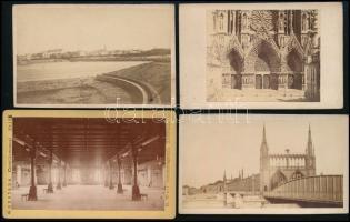 cca 1880 Svájc, Belgium, Elzász 4 db városképes fotó / 4 photo 7x9 cm