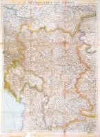 cca 1915 Szerbia térképe. Hajtásoknál kis szakadásokkal 100x75 cm