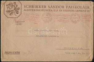 1941 Schrikker Sándor faiskolája Alsótekerespuszta fejléces reklámboríték