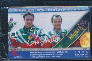 1996 Kolonics György, Horváth Csaba, olimpia telefonkártya használatlan, bontatlan csomagolásban. Sorszámozott. Csak 2000 db!