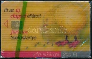 1999 Az új chipes telefonkártya. 3D-s csipegető csirke telefonkártya használatlan, bontatlan csomagolásban. Sorszámozott. Csak 2000 db!