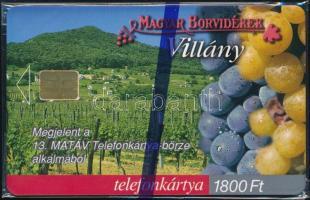 2000 Magyar borvidékek: Villány telefonkártya használatlan, bontatlan csomagolásban. Sorszámozott. Csak 2000 db!