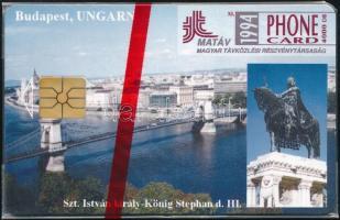 1994 Budapest, Szent István szobor telefonkártya használatlan, bontatlan csomagolásban. Sorszámozott. Csak 2000 db!