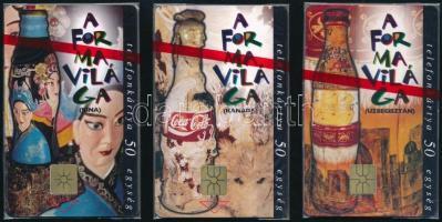1996 A Coca Cola formavilága 3 db telefonkártya használatlan, bontatlan csomagolásban