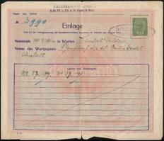1919 Deutschösterreich értékpapír átvételi elismervény okmánybélyeggel és pecséttel