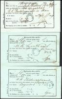 1856-1859 3 db Recepisse klf RAGENDORF bélyegzésekkel, közte 2 kék / different Ragendorf postmarks (2 blue)