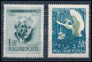 1955-1959 2 db ismert tévnyomat: Bartók 1Ft és Madarak 20f (8.000)