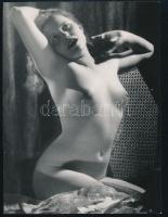 Erotikus akt, pecséttel jelzett fotó (Szántó), 20,5×15,5 cm