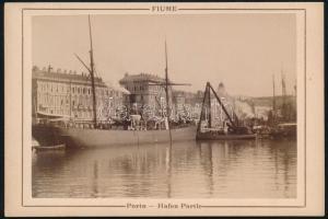 cca 1900 Fiume, kikötő, keményhátú fotó, 11×16 cm