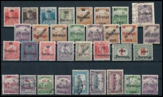 1919 62 db bélyeg Bodor vizsgálójellel, közte érdekes felülnyomás eltérések, tévnyomatok (43.325)