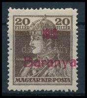 1919 Károly 20f próbanyomat piros felülnyomással, Bodor vizsgálójellel (**22.000)