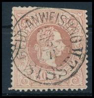 1867 50kr rózsabarna bélyeg GELD-ANWEISUNG SISSEK (180.000) (felül ollóval vágva)