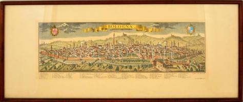 Bologna látképe, színezett mélynyomás, reprint, üvegezett fa keretben, 22x61 cm.