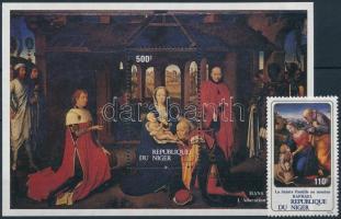 Karácsony, festmények bélyeg + blokk, Christmas, paintings stamp + block