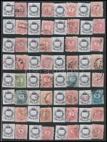 Lemezrepedések, tűnyomatok, javítások tanulmány 1874-es bélyegeken / plate flaws, retouches on 1874 stamps