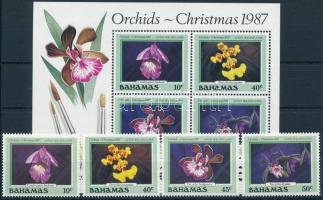 Christmas, orchids set + block, Karácsony, orchidea sor + blokk