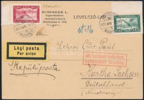 1929 Légi levelezőlap Németországba