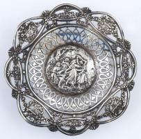 Antik ezüst (Ag.) áttört bieder kis tálka, jelzett, poncolt, nettó: 67 g, d: 12,5 cm