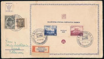 1937 Mi blokk 1, ajánlott levélen elsőnapi bélyegzővel