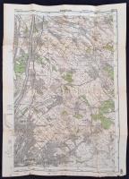cca 1930 Budapest és környéke katonai térkép 45x31 cm