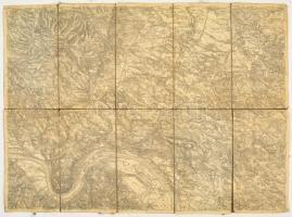 cca 1910 2 db térkép: A Pilis (kis szakadásokkal), Nógrád és Vác (vászon) 40x42 cm