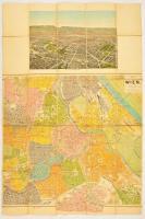cca 1910 Bécs látképe és térképe vásznon / map of Vienna 50x75 cm