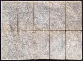 cca 1910 Neszmély és Zsámbék vászon térképe 53x39 cm