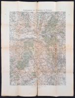 cca 1910 Az Esztergom környéki katonai gyakorló táborok térképe. 41x55 cm