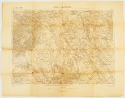 cca 1910 Pásztó és Bicske környékének katonai térképe. 60x44 cm