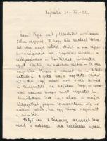 1938 Major József (tizedes, Hajmáskér, I. Mérőszázad), augusztus végi levele Hajmáskérről, melyben beszámol a felvidéki bevonulás előtti egyik utolsó hadgyakorlatról, saját szemszögéből, jó állapotban, 4p