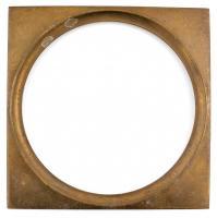 Bronz plakett keret, belső d: 11,5 cm, külső: 12,5×12,5 cm