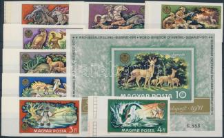 1971 Vadászati világkiállítás vágott ívszéli sor és vágott blokk (11.500) / Mi 2664-2671 imperforate margin set + Mi block 82