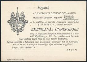 1930 Szeged, Meghívó Emericanás ünnepségre
