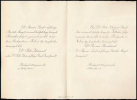 1940 Bp., Bibó István és Ravasz Boriska (Ravasz László református püspök lánya) házasságkötési értesítője