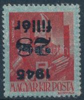 1945 Kisegítő 28f/5f fordított felülnyomat Tanúsítvány/ Certificate: Leitold László