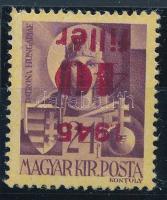 1945 Kisegítő 40f/24f fordított felülnyomat Tanúsítvány/ Certificate: Leitold László