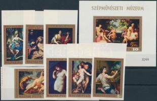 1970 Festmények (VIII.) ívszéli vágott sor + vágott blokk