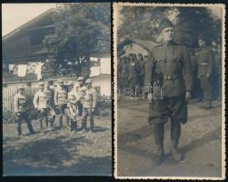 cca 1914-1945 4 db katonai fotólap, közte megírt, 8×13 cm