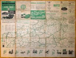 1933 Offizielle Strassenzustandskarte des Österreichischen Touring-Club Jun 1933., Ausztria térkép, a hajtások mentén kis szakadásokkal, 83x110 cm.