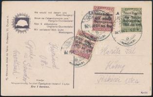 Nyugat Magyarország 1921 Képeslap Borostyánkőről Kőszegre. Signed: Bodor