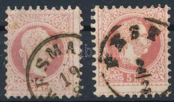 1867 2 db képbe fogazott 5kr