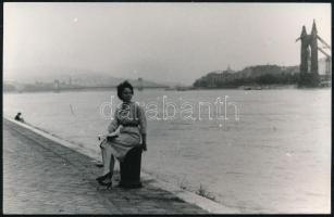 cca 1950-1960 Budapest, a Duna-part a régi Erzsébet-híd maradványával, háttérben a Lánchíddal, fotó, 9×14 cm
