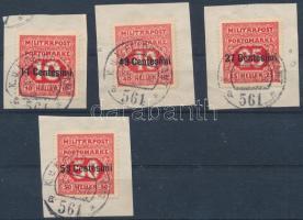 1916 Egyszínű portó 7 db bélyeg és 1918 4 db olasz értékjelzés felülnyomással
