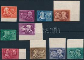 1948 Feltalálók-felfedezők vágott sor, többnyire ívszéli (22.000) (törések / creases)