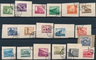 1951-1953 16 érték az Épületek I. és 2 érték az Épületek II. sorból, kivágásokon (~80.000)