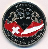 2007. Labdarúgás 2008. Svájc - Ausztria festett Cu-Ni-Zn emlékérme tanúsítvánnyal (33mm) T:PP  2007. Football 2008. Switzerland - Austria painted Cu-Ni-Zn commemorative medal with certificate (33mm) C:PP