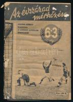 1953 Az évszázad mérkőzése c. kiadványban Szepesi György elmondja a londoni 6:3-as magyar győzelem történetét; 64 oldal, benne 50 fotóillusztráció, játékosok nyomtatott aláírása, arcképe és karikatúrája, széteső állapotban, 60p